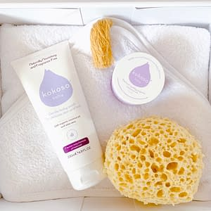 baby bath gift box, kokoso bodywash, coconut oil, large hooded towel sponge