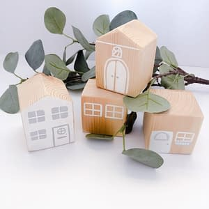 Set of 4 wooden houses for imaginary play